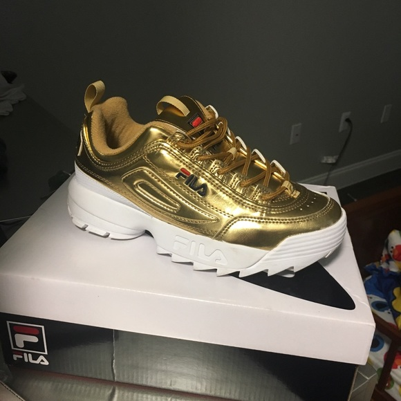 Fila Shoes | Gold Fila Sneakers | Poshmark